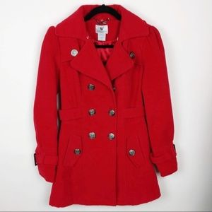 Worthington Women's Red Faux Fur Collar Coat XS